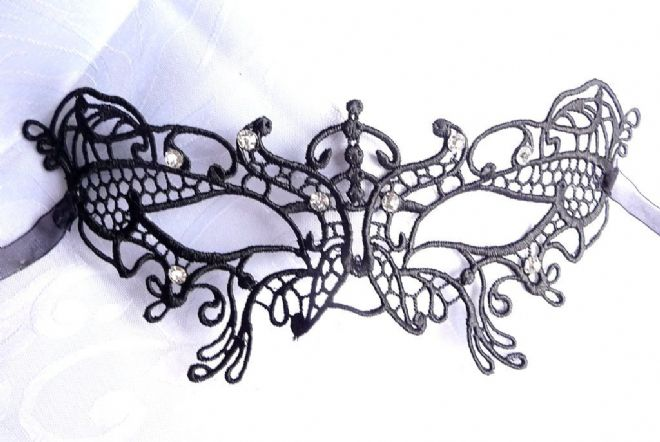 Black Lace  Butterfly Eye Mask with Diamante